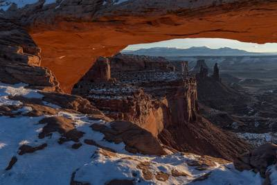Mesa Arch at sunrise in the winter