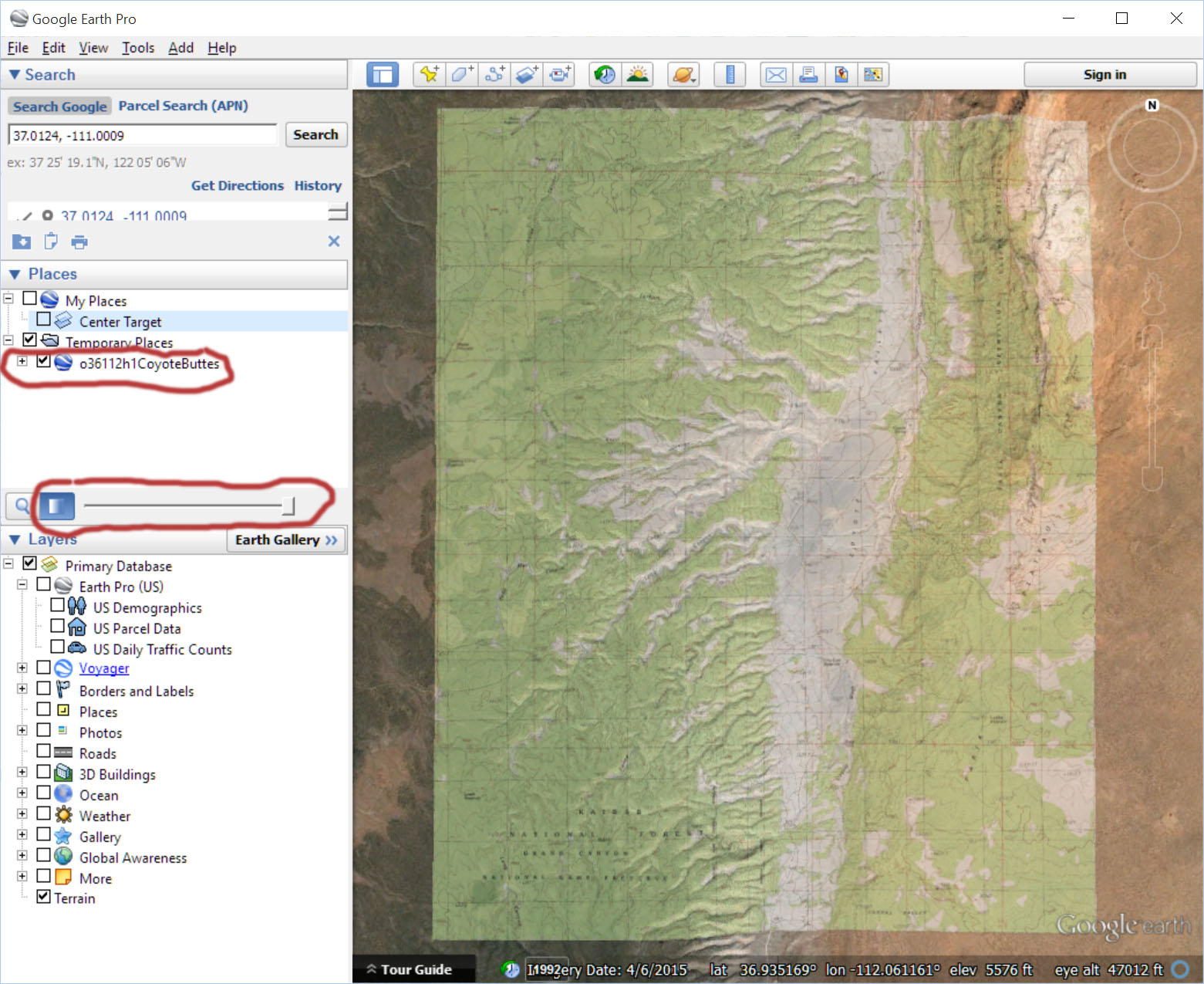 How to get coordinates from google earth