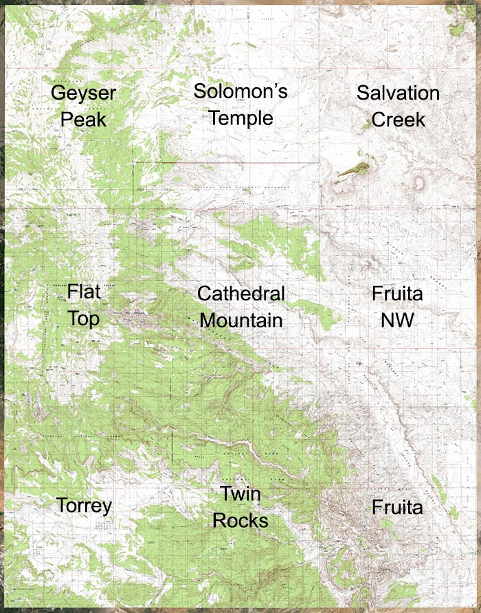 Topo maps covering  Capitol Reef north of Highway 24