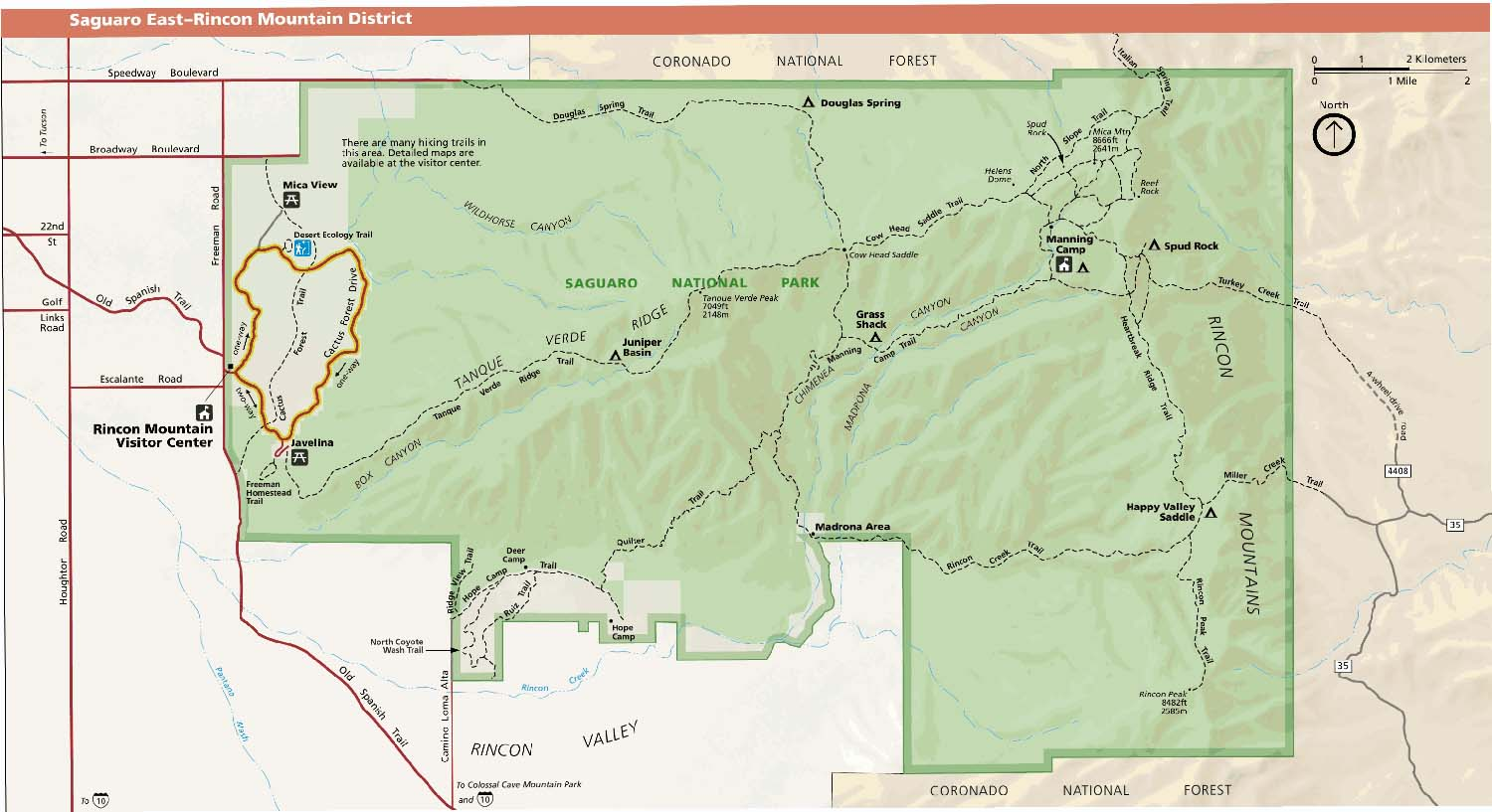 Saguaro Park Service East Map